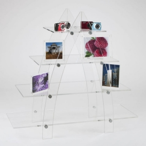 Modern and contemporary clear acrylic ladder style display shelving