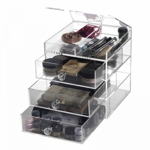 Acrylic makeup organizer with drawer lid