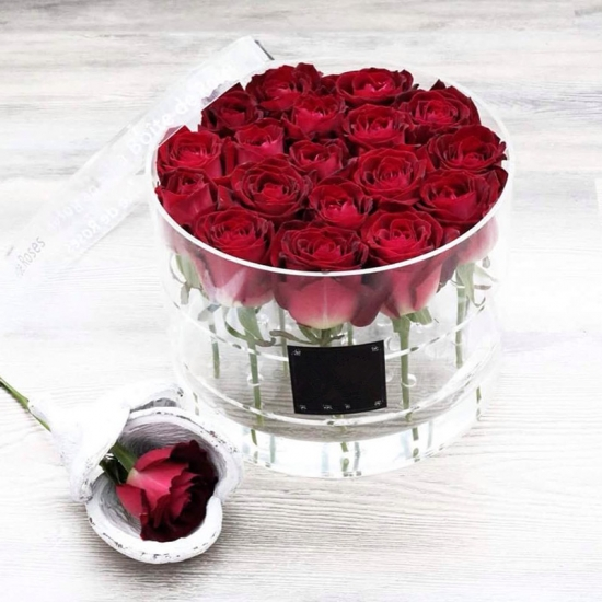 Oem Round Preserved Roses Acrylic Packaging Box
