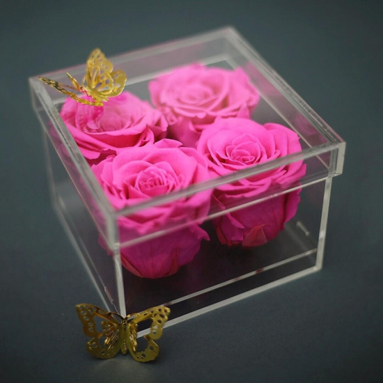 Clear Acrylic Flower Packing Box For Valentine Day