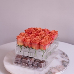 acrylic rose box with drawer