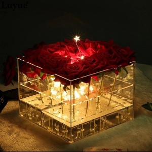 square clear acrylic flower box wedding luruxy rose box
