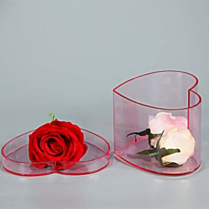 pink color heart shape perspex flower box