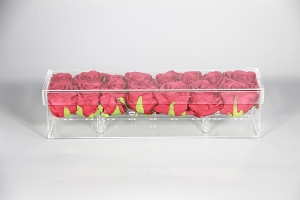 Long Rectangular Acrylic Rose Box For 12 Roses