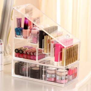 Wholesale acrylic cosmetic makeup organizer with drawers