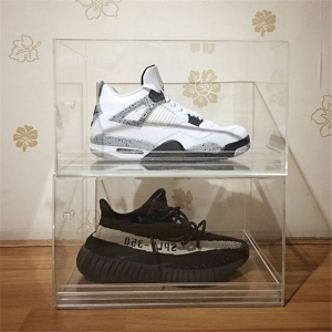 Two tiers clear acrylic shoe display case