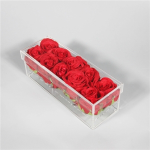 rectangle acrylic flower box with lid