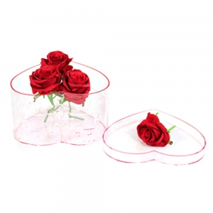 heart shaped acrylic flower packing box