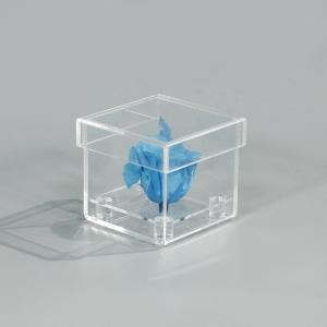 Single square clear acrylic flower display box
