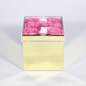 gold acrylic flower box