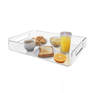 Transparent acrylic drinks tray with handles