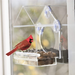 House shape transparent parrot fedder clear acrylic bird cage