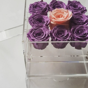 Chinese factory offer clear plexiglass 9 holes rose box with a drawer