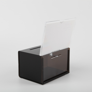 Black Deluxe Acrylic Ballot Box Plexiglass Donation Box with sign and lock