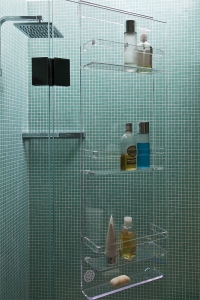 acrylic hanging bathroom shower caddy shelf