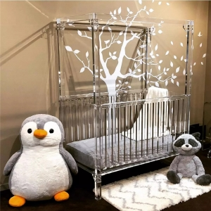 perspex baby crib with canopy