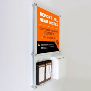 Office wall mounted persex display board with suggestion box