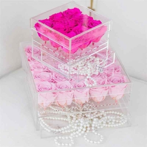 Custom 9 holes transparent acrylic rose flower box with a drawer